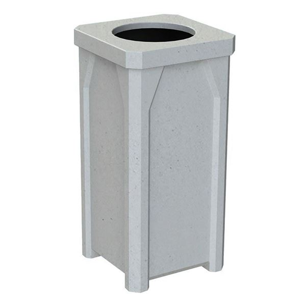 22 Gallon Square Pool Deck Trash Can with Flat Lid