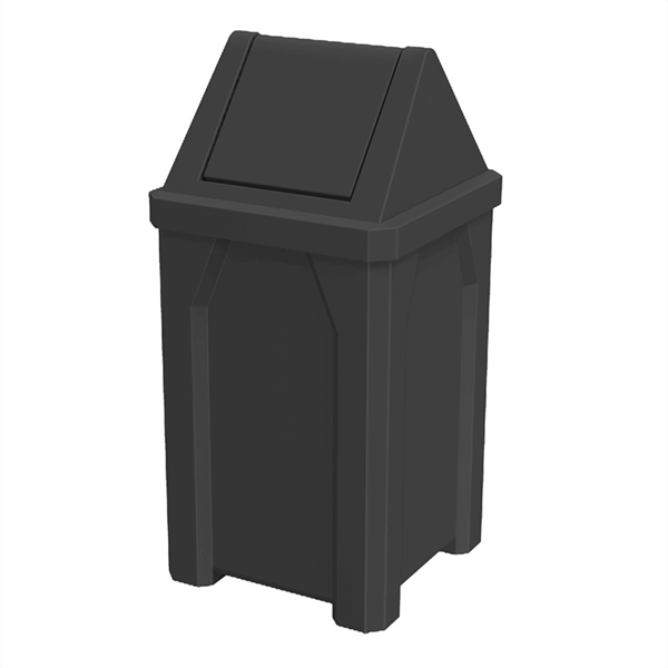 32 Gallon Pool Deck Trash Can with Swing Door Lid