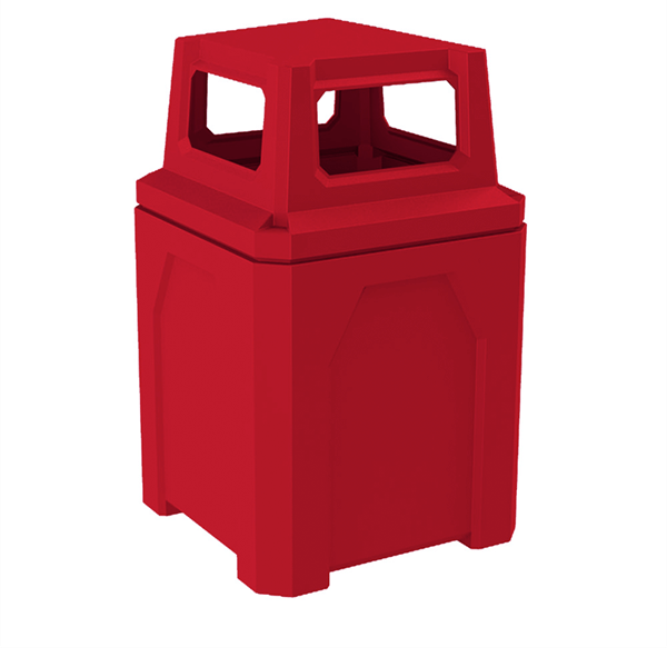 52 Gallon Square Pool Deck Trash Can with 4-way Top